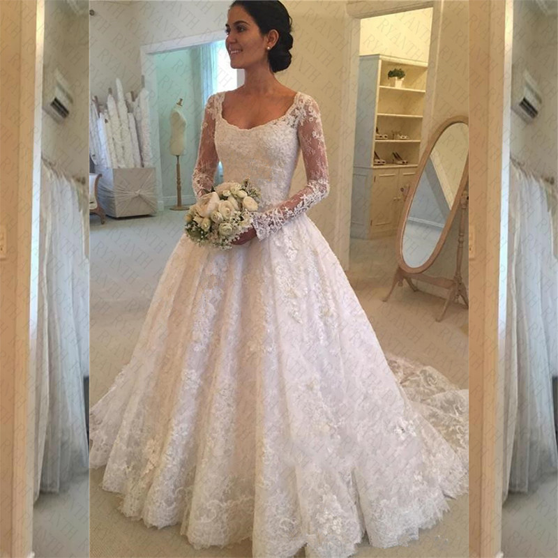 Vestido De Novia Cheap Long Sleeve Lace Ball Gown Wedding Dress 2018 Trouwjurk Vestido De Novias