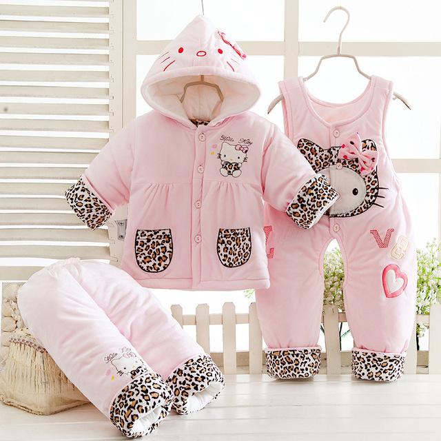 Párrafo invierno más gruesa chaqueta de algodón de los niños calientes del bebé pantalones de algodón de tres piezas (una capa + dos pantalones)