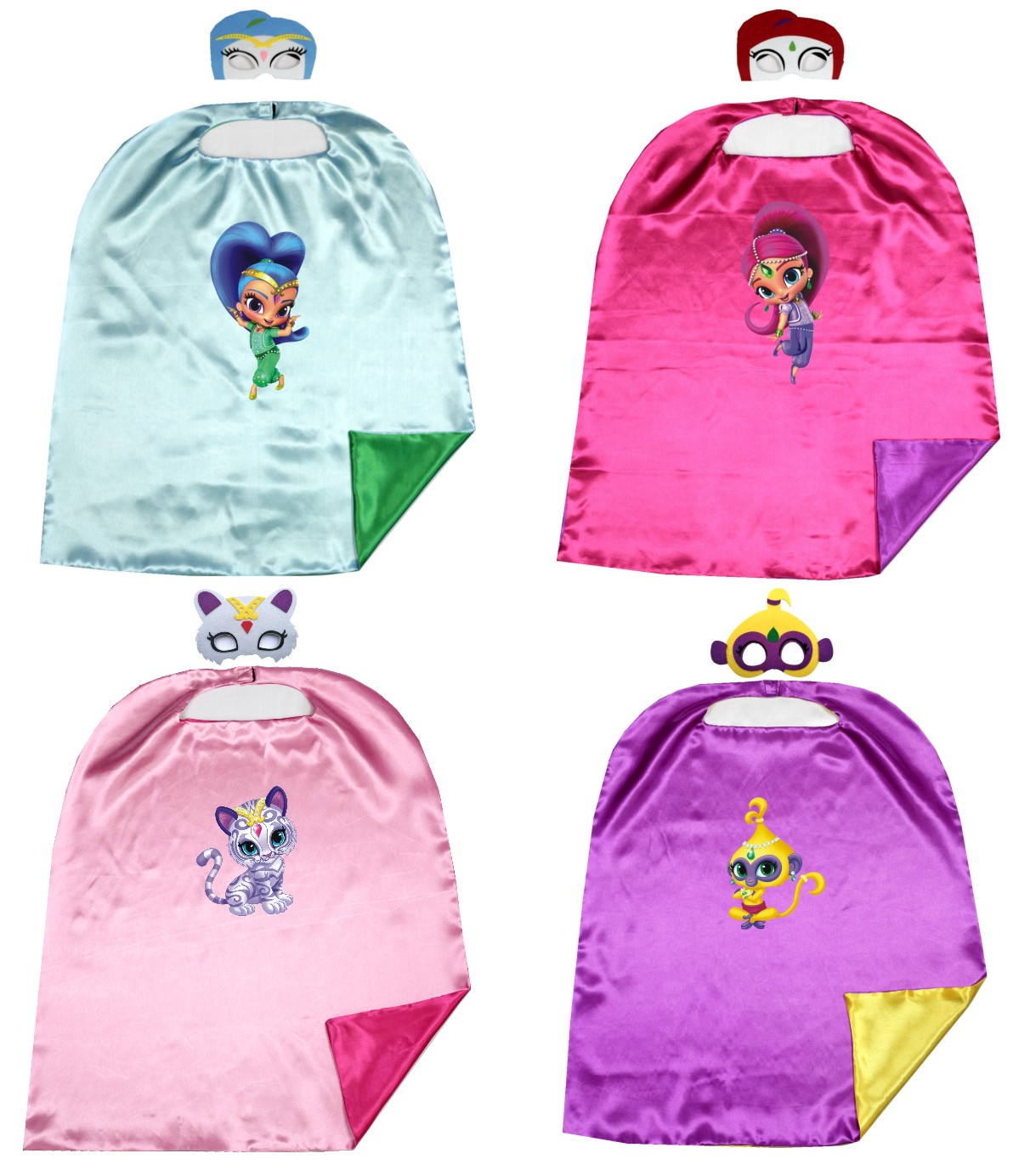 70 * 80cm 2layer shimmer & shine Capes maschere abbinabili CompleannoParty Favor Ispirato Dress Up Capes + Maschere