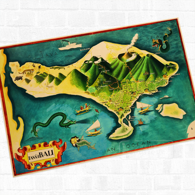 Bali Island Indonesia Tour Landscape Travel Poster Vintage Retro