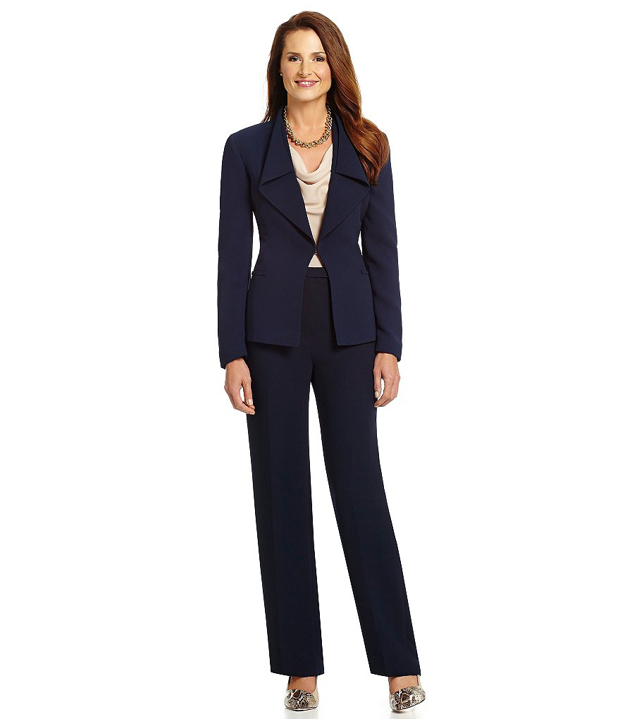 pants lady suits navy formal manager career office womens pant custom jacket w23 piece preston clothing collar clothes dillards leslie