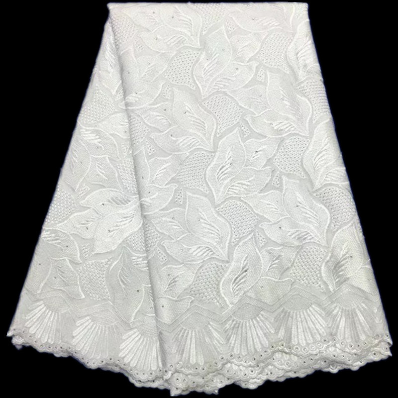 White Color Nigerian Lace Fabrics 2017 African Swiss Voile Lace High Quality Swiss Dry Cotton Lace