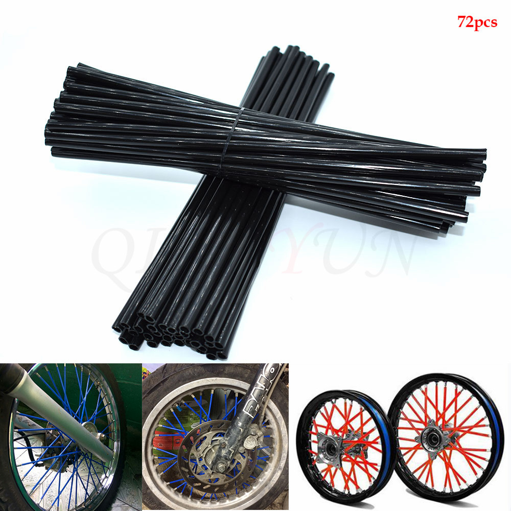 72Pcs Motorcycle Wheel Spoked Protector Wraps <font><b>Rims</b></font> Skin Trim Covers Pipe For Motocross Bicycle Bike Cool Accessories 5 Colors image
