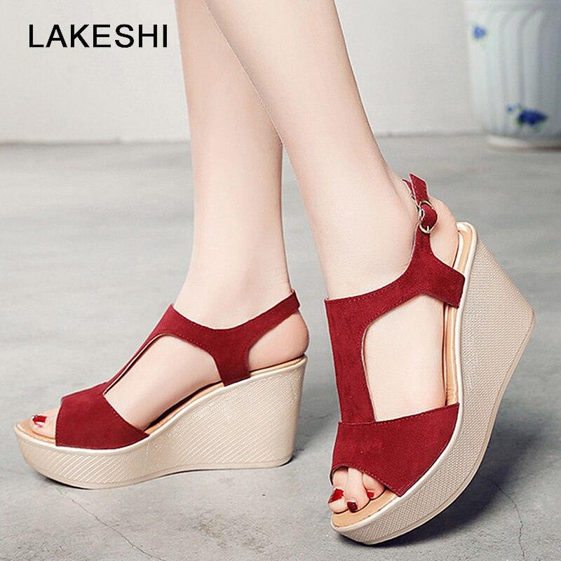 Lakeshi Casual Frauen Sandalen Creepers Keil Sandalen Flache Plattform Schuhe Sommer Frauen Schuhe Wildleder Peep Toe Damen Sandalen 2018 Schuhe