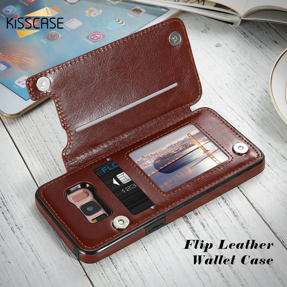 Galleria fotografica KISSCASE Leather Case For Samsung Galaxy S9 S8 Plus Luxury Business Flip Cases For Samsung Galaxy S7 Edge Note 8 Wallet Case