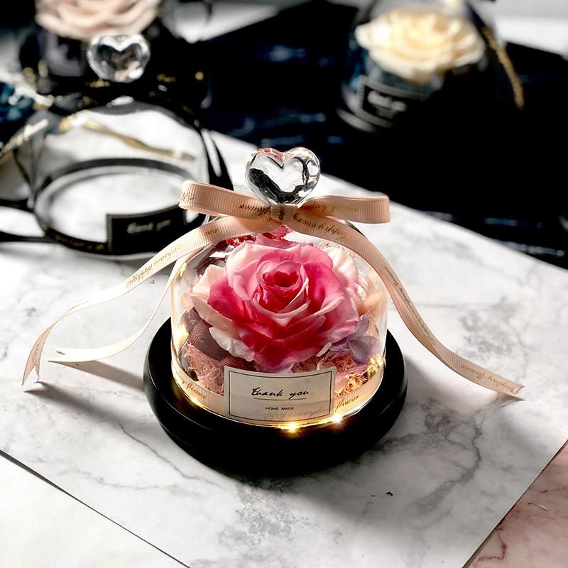 Новинка, красивая и чудовищная Роза в стеклянном куполе, светодиодный светильник, украшение для дома на День святого Валентина, рождественские подарки - Цвет: Pink and White Love