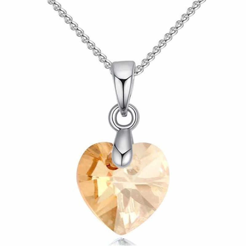 6fb9eaa310b9 SHDEDE corazón COLLAR COLGANTE cristales de Swarovski para mujeres niñas  regalos Cadena de Color plateado niños joyería decoraciones + * 50