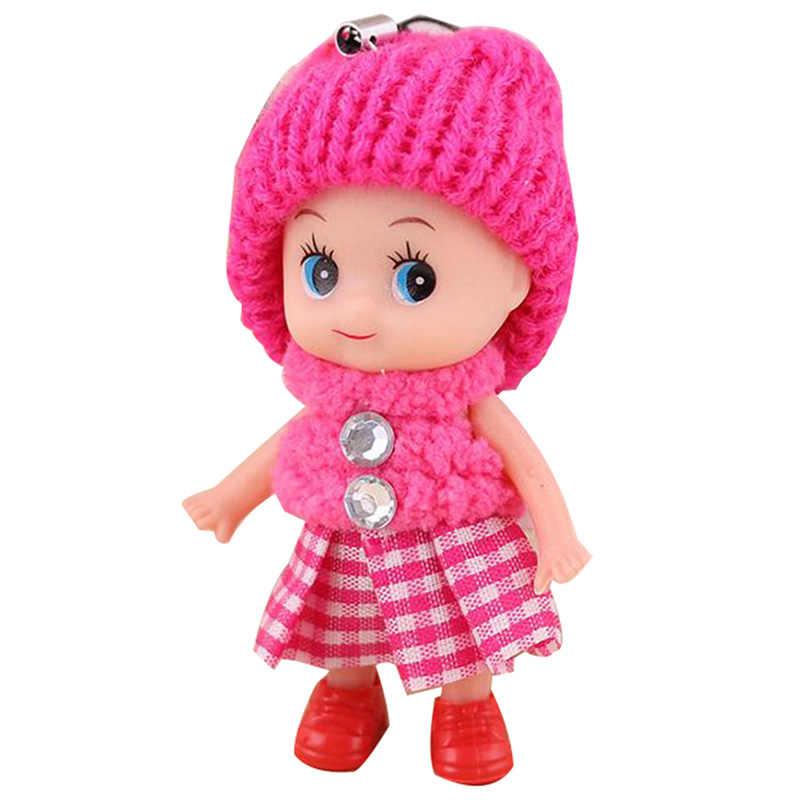 Bonito Mini bonecas Fashion girl Crianças Bonecos de Pelúcia Brinquedos de Pelúcia Macia de Pelúcia Chaveiro boneca Para As Meninas Do Bebê novo da menina Das Mulheres cor Aleatória
