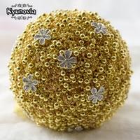 Kyunovia Pearls Brooch Bouquet Gold Silver Weddings Bridal Bouquet de mariage Bride Holding Flowers Beads Wedding Bouquets FE20