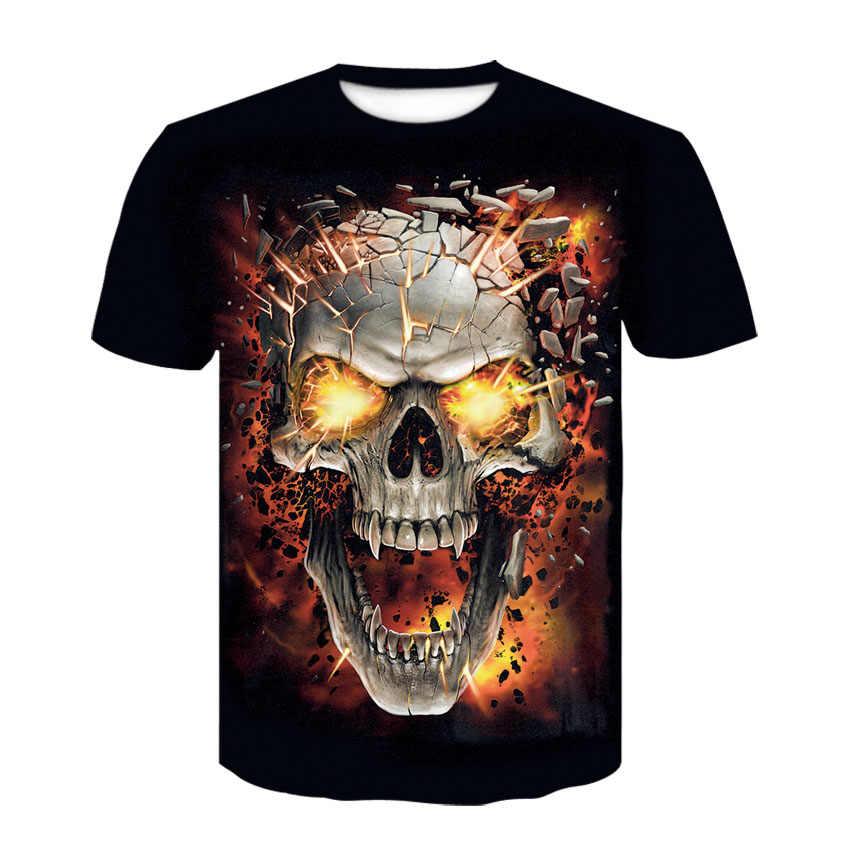 2019 새로운 3d 두개골 재미 있은 t-셔츠, 남자 캐주얼 3d 인쇄 된 t-셔츠 남자 착용 t-셔츠 여름 높은 품질
