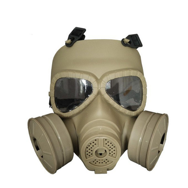 Double irrigation built-in fan gas mask outdoor field protective mask tactical face