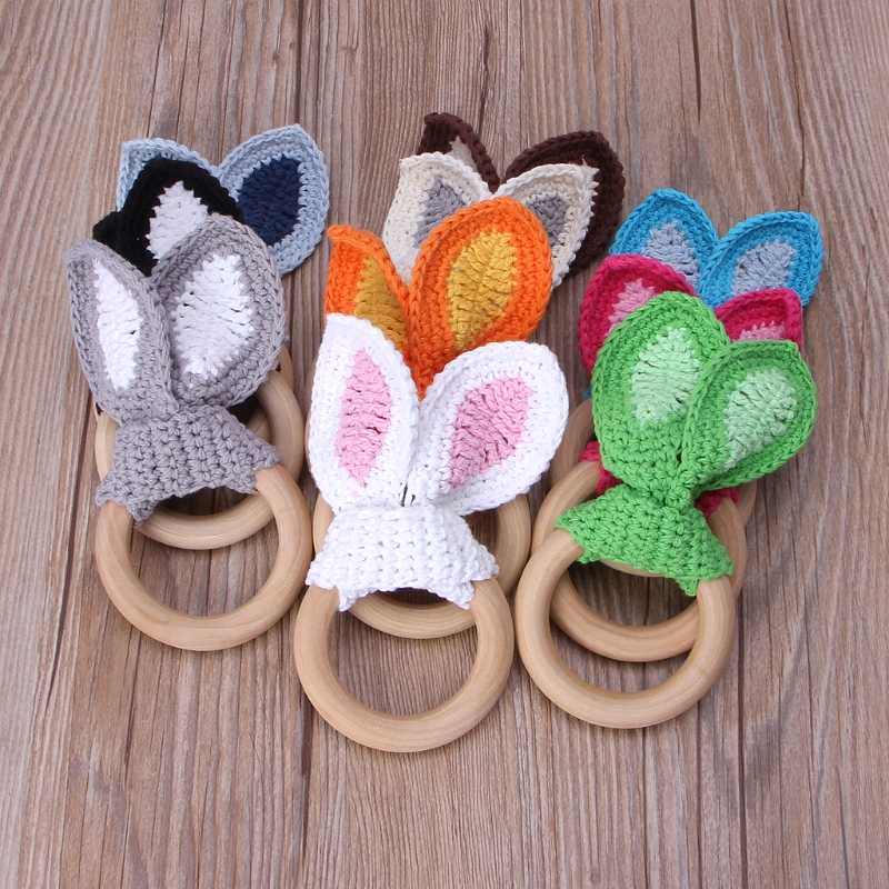 Baby Girl Boy Teething Ring Chewable Teether Wooden Natural Bunny Rattle Toy