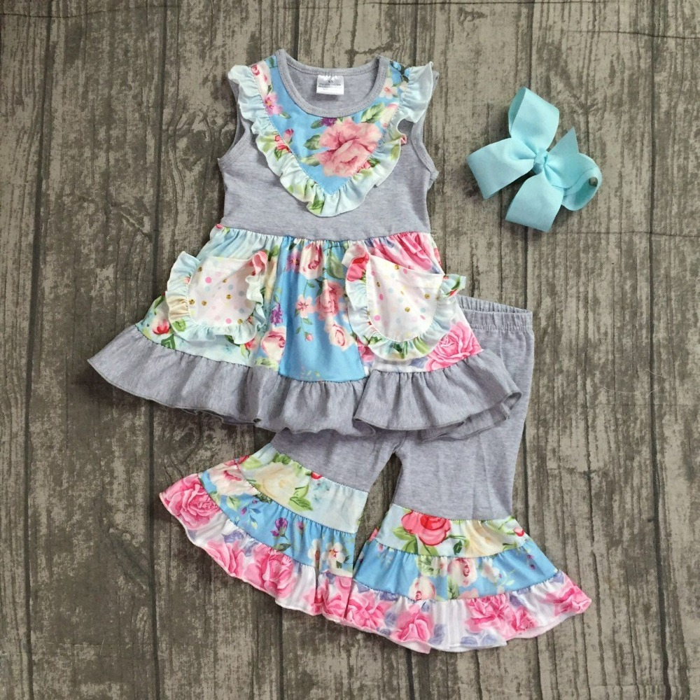 2018 Summer girls clothing grey hot pink blue flower pattern ruffle capris kids boutique outfits with matching bow