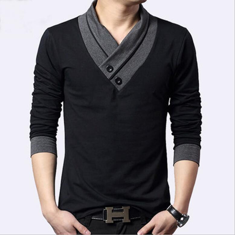 Automne hiver hommes à manches longues t-shirt jeunesse garniture sur les vêtements en coton-col en V pile collier pieu col pull