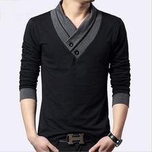 Осень-зима мужские Длинные рукава футболка молодежи отделкой на одежда хлопок-V-вырез горловины куча воротник ворс-образным вырезом Пуловер