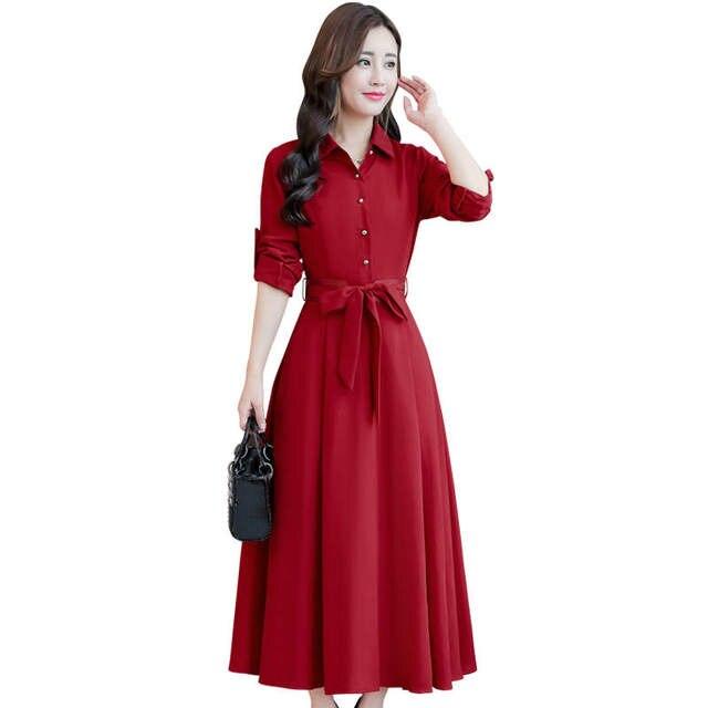 Plus Size Long Sleeve Dress Female Autumn Cotton Linen Shirt Dress Elegant  Jurken Blue Ladies Office 687b34a4c115