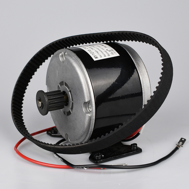 Brushed DC 24V 300W Motor With 5M Belt Wheel For Electric Scooter E bike Folding Bike Small E-Motor Bicycle Conversion Parts