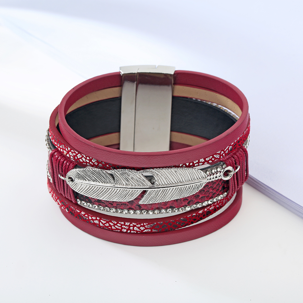 17 Fashion Alloy Feather Leaf Wide Magnetic Leather Bracelets & Bangles Multilayer Wrap Bracelets for Women Men Jewelry 9