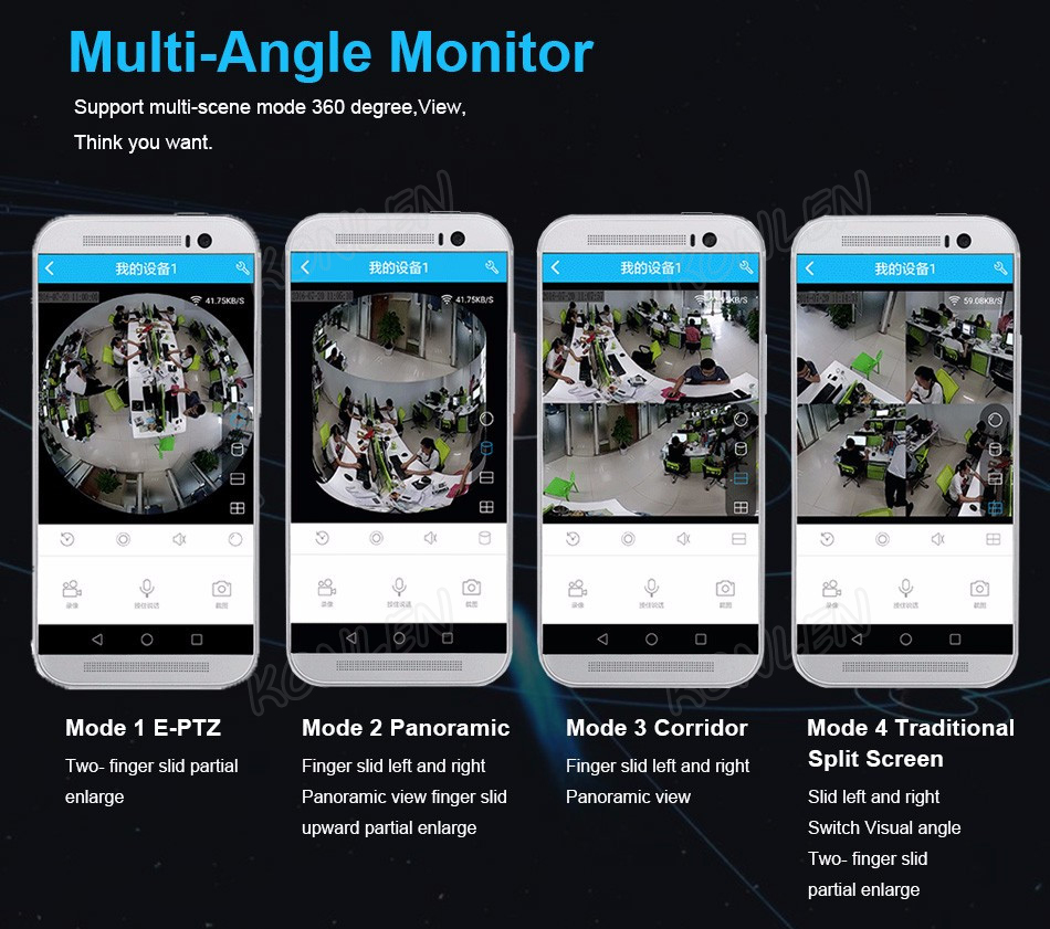360 degree IP camera WIFI video mode 2