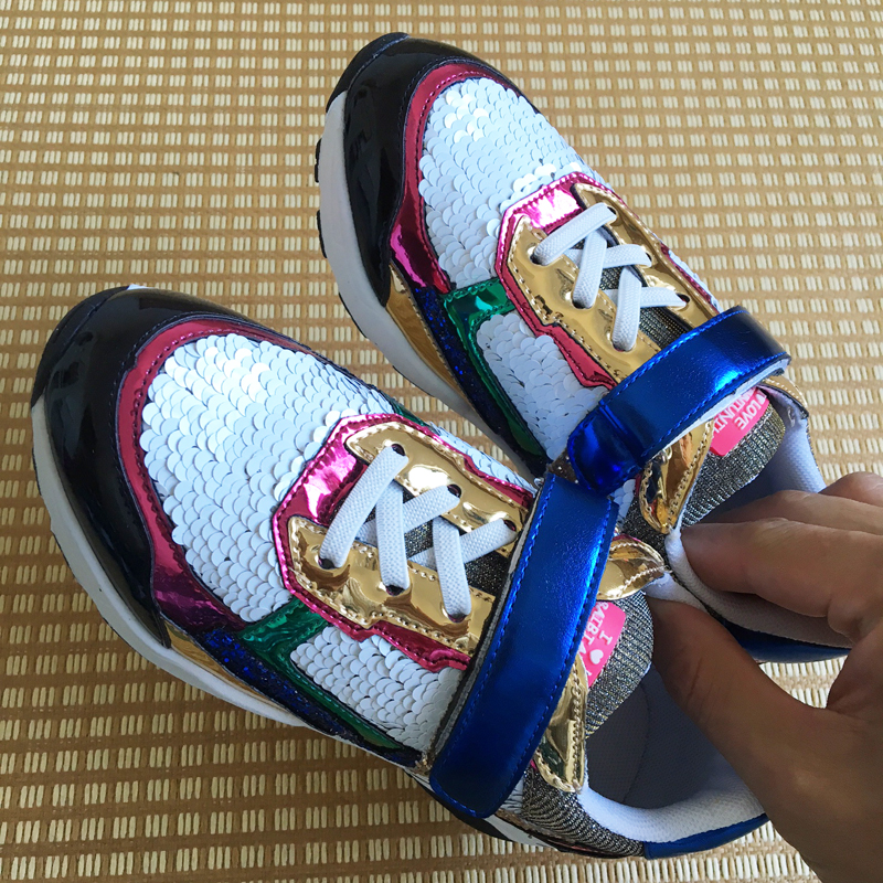 Luxury bling children casual shoes for girls, glitter platform sneakers, sequined shining gold colorful shoe princess kids glowing sneakers usb charging shoes lights up colorful led kids luminous sneakers glowing sneakers black led shoes for boys
