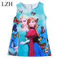2017 Girls Dresses Girls Elsa Anna Dresses Butterfly Print Princess Dress Baby Girls Party Dress Kids Clothes 3-10 Year vestidos