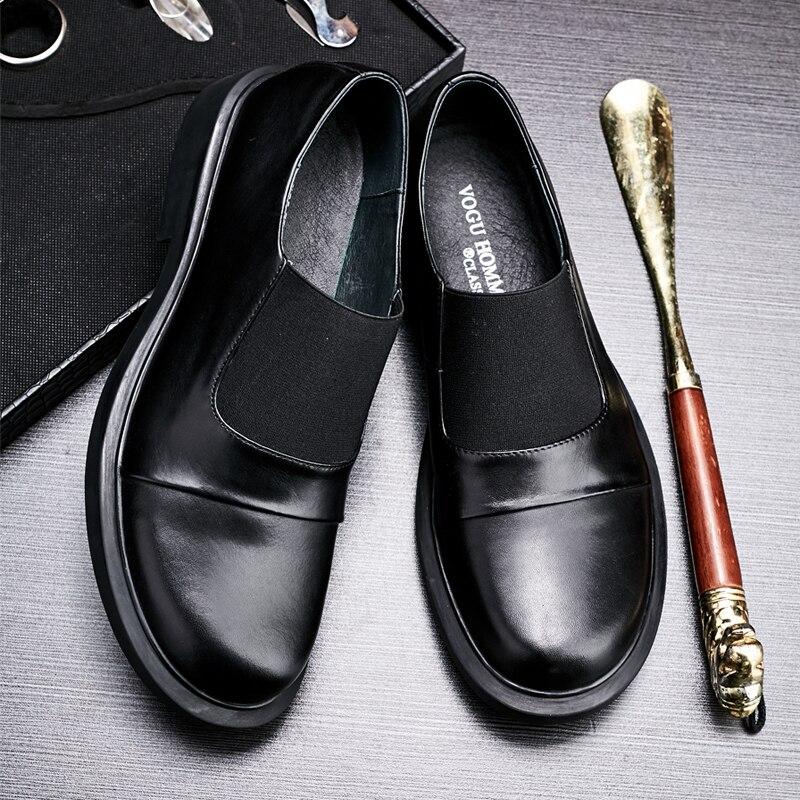 Preto De Couro Primavera Moda Negócios Genuíno Mocassins Jovem Retro Outono Mens Britânico Homens Sapatos Casuais wRq644