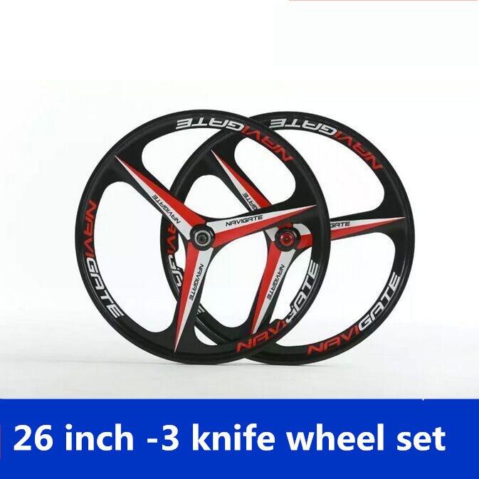 VTT 3 roues à couteaux ensemble de roues 8/9/10 vitesses en alliage de magnésium 26 pouces roues avant et arrière