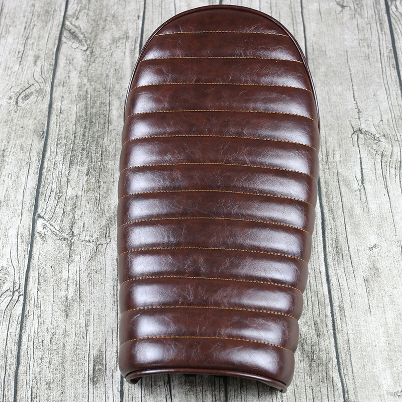 Mayitr Brown Hump Custom Vintage Cushion Cafe Racer Motorcycle Flat Brat Styling Seat Saddle For Honda Suzuki