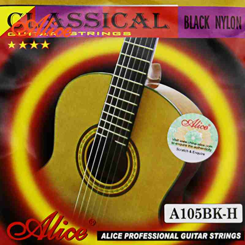 Alice Black Nylon Strings A105BK-H Classical Guitar Strings Silver-Plated Copper Alloy Wound 1st-6th Strings 20PCS/lot classical guitar strings set cgn10 classic nylon silver plated normal tension 028 045 classical guitar strings 6strings set