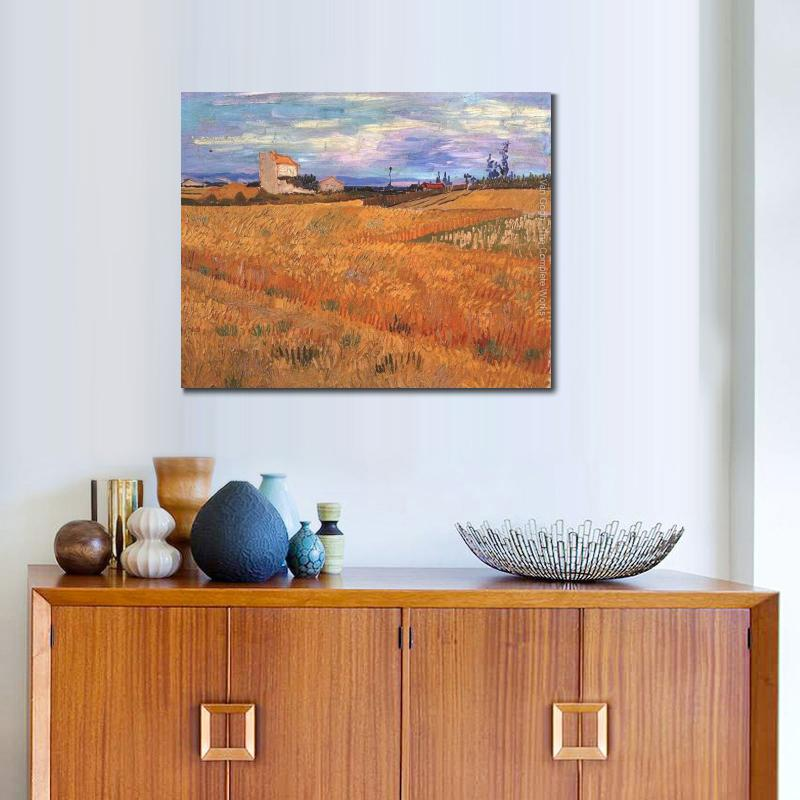Handmade oil painting reproduction of Vincent Van Gogh High quality Wheat Field Living room decor