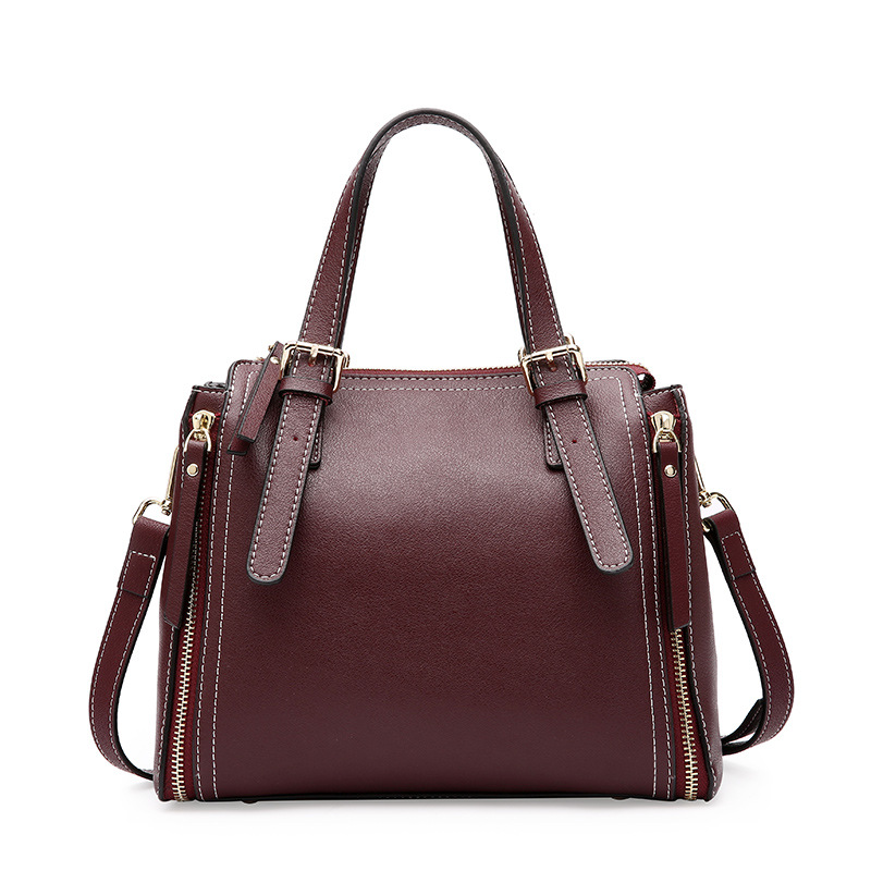 New Fashion Split Leather Top-handle Women Handbag Solid Ladies Lether Shoulder Bags Casual Large Capacity Tote Crossbody Bags