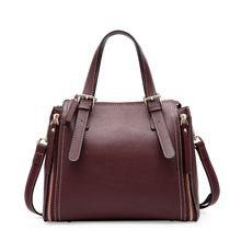 New Fashion Split Leather Top-handle Women Handbag Solid Ladies Lether