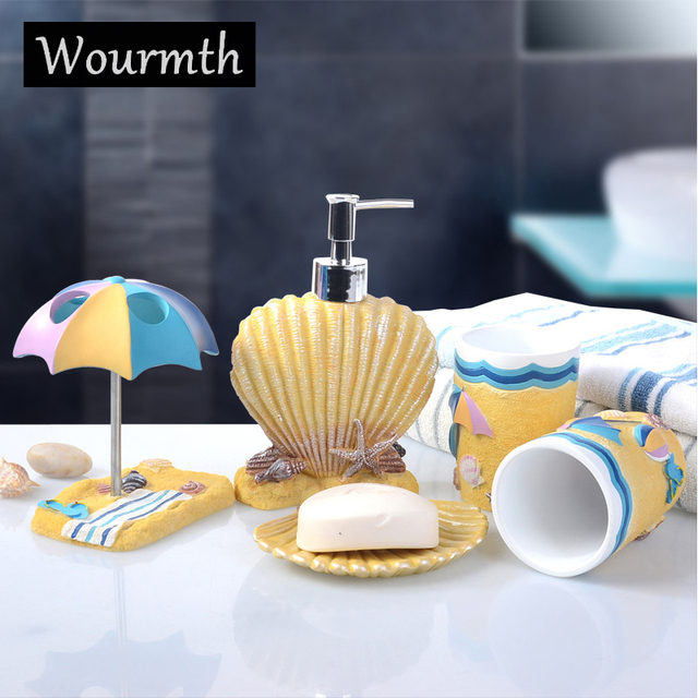 Wourmth Pretty Bathroom 5 Set Resin Of Five Pieces Toiletries Kit Accessories