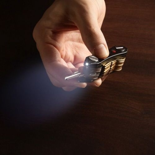 UESH-Key Holder With 2 LED Flashlights Bottle Opener Holds 30 Keys