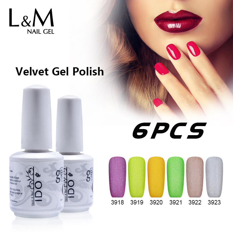 6 Pcs Free Shipping velvet Gel Nails Polish Asian Suppliers High Quality Brilliant 36 Colors One Month long-lasting Newest Style