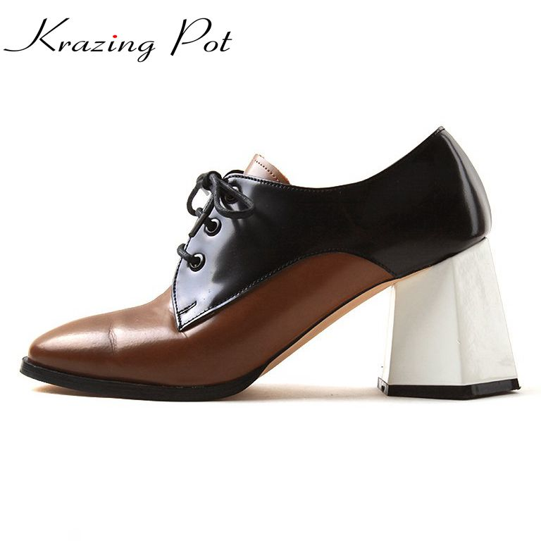 Krazing Pot full grain leather Korean girl shoes women vintage mixed color round toe square high heel movie star women pumps L26