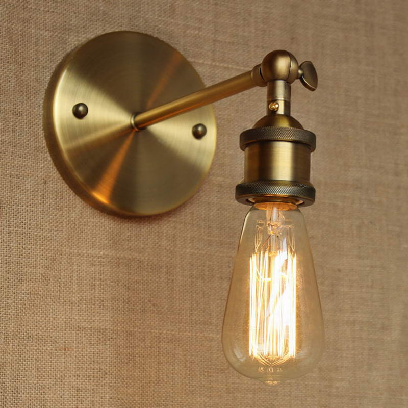 Industrial Style Antique Gold Metal Wall Lamp For Workroom Bathroom Vanity Lights Corridor In
