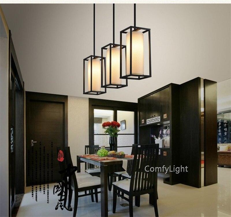 Moderno led Plug In Luce Del Pendente stile di Lino Naturale Drum Ombra di ferro nero sala da pranzo soggiorno foyer di Caffè casa - 5