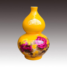 China jingdezhen ceramics gold straw peony gourd vases, home furnishing articles Wedding gift