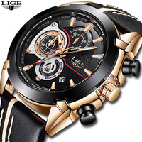 LIGE Mens Watches Top Brand Luxury Quartz Watch Men Casual Leather Military Waterproof Sport Gift Wrist Watch Relogio Masculino