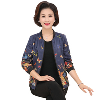 WAEOLSA Fashion Woman Casual Bomber Jacket Blue Flower Short Coat Autumn Spring Womens Round Neck Zipper
