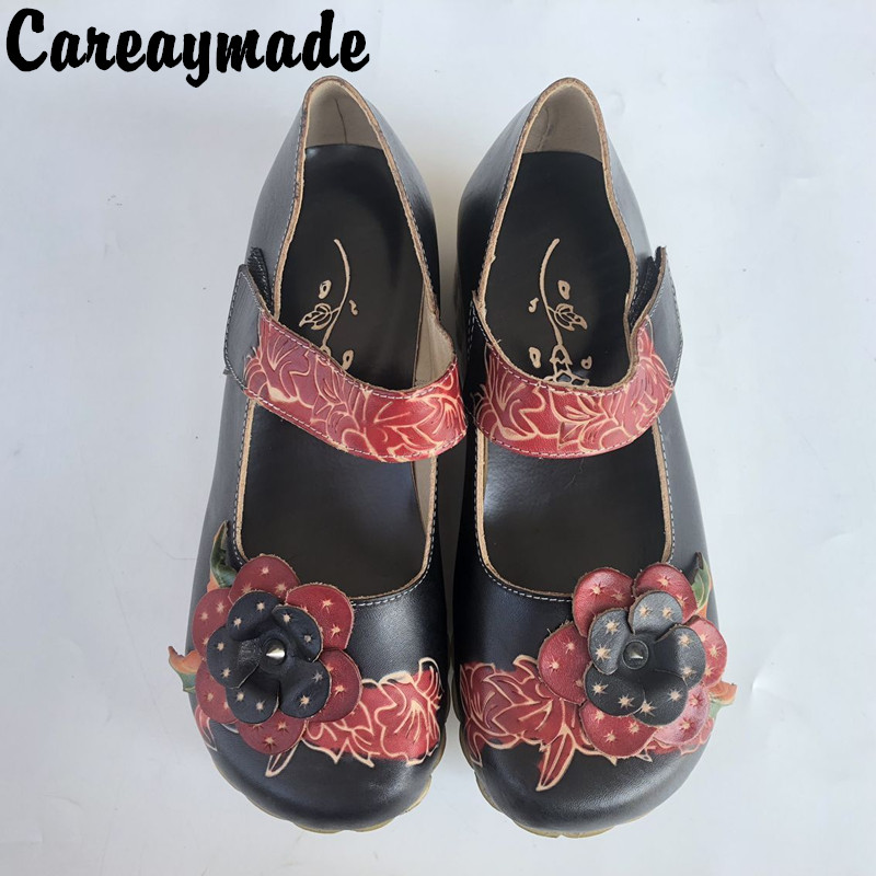 Careaymade-New 2017 Summer,Women fashion single shoes,Round mid-high heels printing flower shoes,Ethnic style hook trend shoes