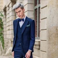Royal Blue Men Suits Handsome Groom Wedding Suits Custom Made Slim Fit Groomsman Fashion Leisure Tuxedos