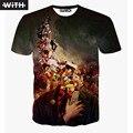 Мужские футболки Мода 2016 3d Женщины Футболка Иордания Симпсоны Iron Man Walking Dead Графических Животных Печати Футболка homme С YZ624