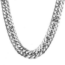 Granny Chic 16/19/21mm Mens Chain Heavy 316L Stainless Steel Silver(Color) Cut Double Curb Link Rombo Necklace Wholesale
