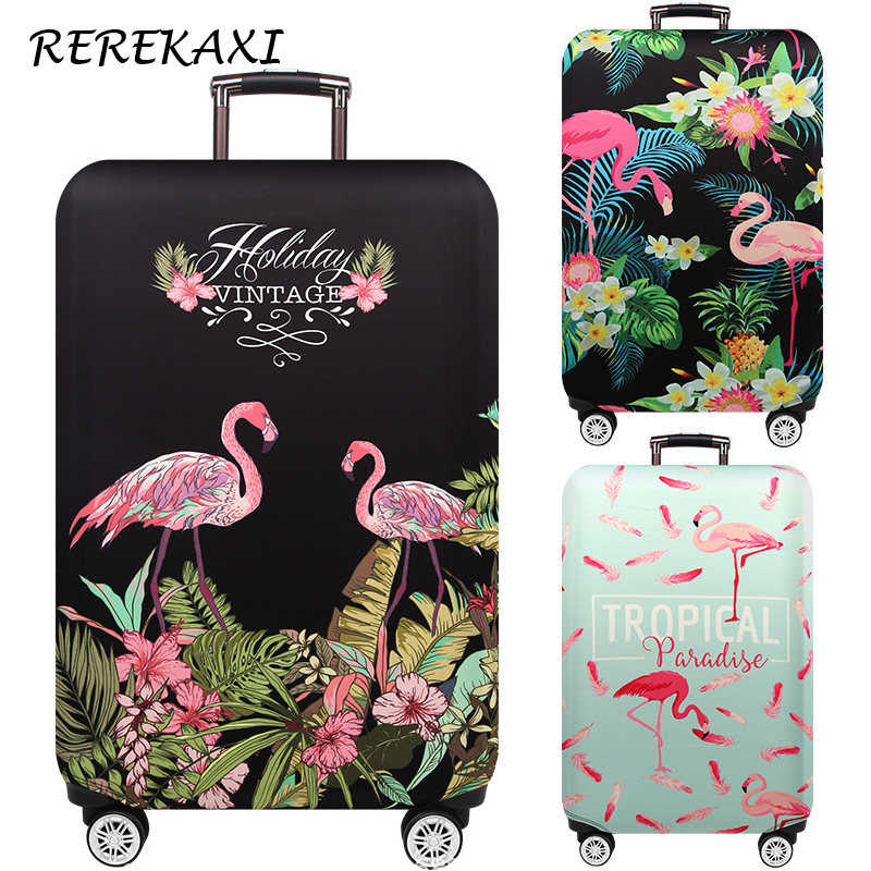 REREKAX Flamingo Luggage Cover 18-32Inch Suitcase Elastic Protection Covers Trolley Thicken Dust Case Cover Travel Accessories