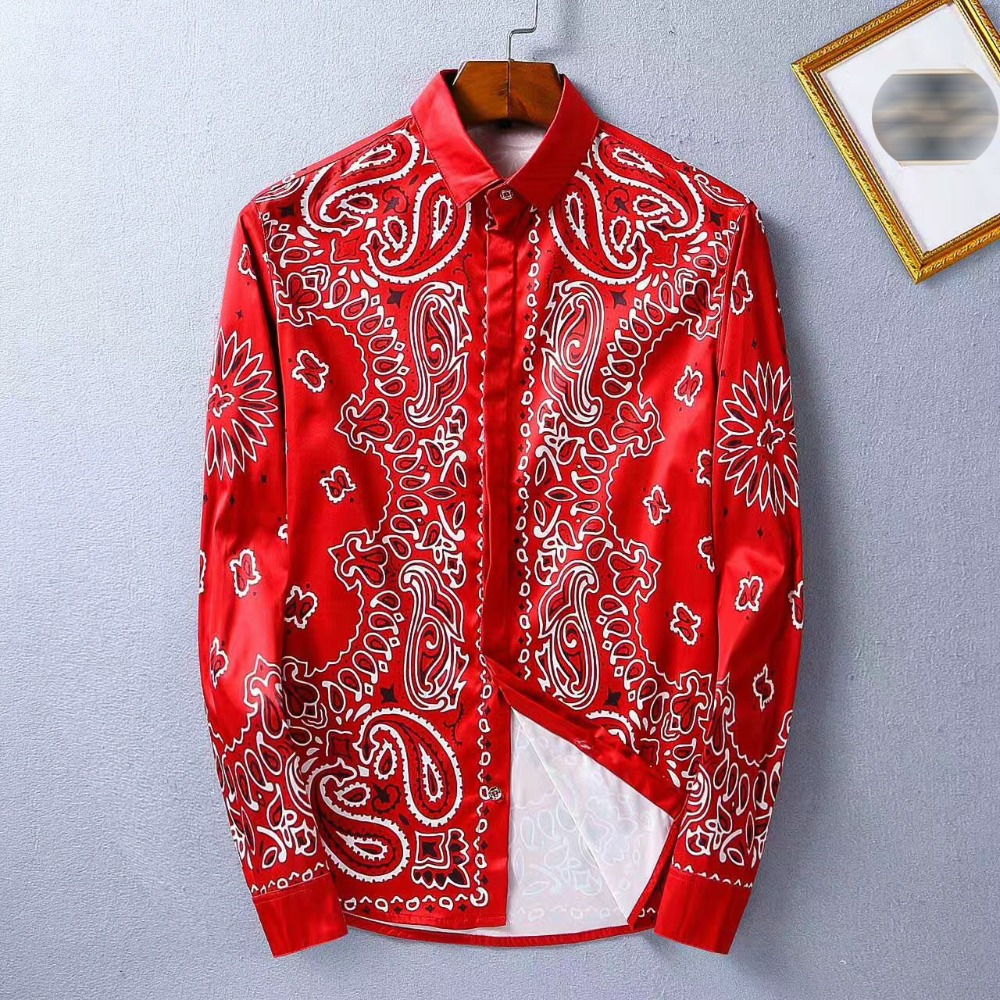 2017 New Arrival Mens Shirt Fashion Design Long Sleeve Slim Fit Men Casual Shirt Flower Pattern High Quality Men Dress Shirt ...