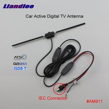 Liandlee Car Digital TV Antenna Amplifier DVB-T ISDB-T ATSC Automobile Active Aerial IEC Connector Male Plug Booster ANT #AM911 dvb tw35b colosseum pattern dvb t 35db iec digital tv antenna black