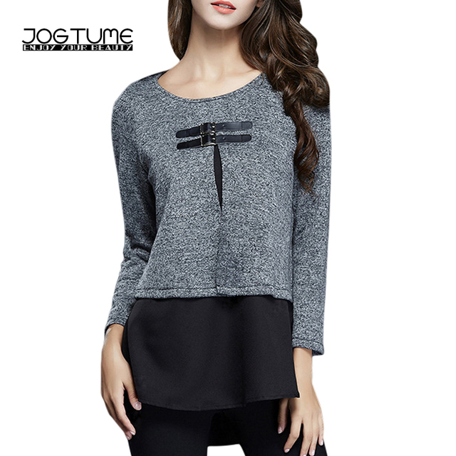 90eaeb0a591 JOGTUME Plus Size New Fashion Women T-Shirt Casual Gray Patchwork Long  Sleeve Tee Tops Loose Funky Cotton T Shirt 4xl 5xl 6xl