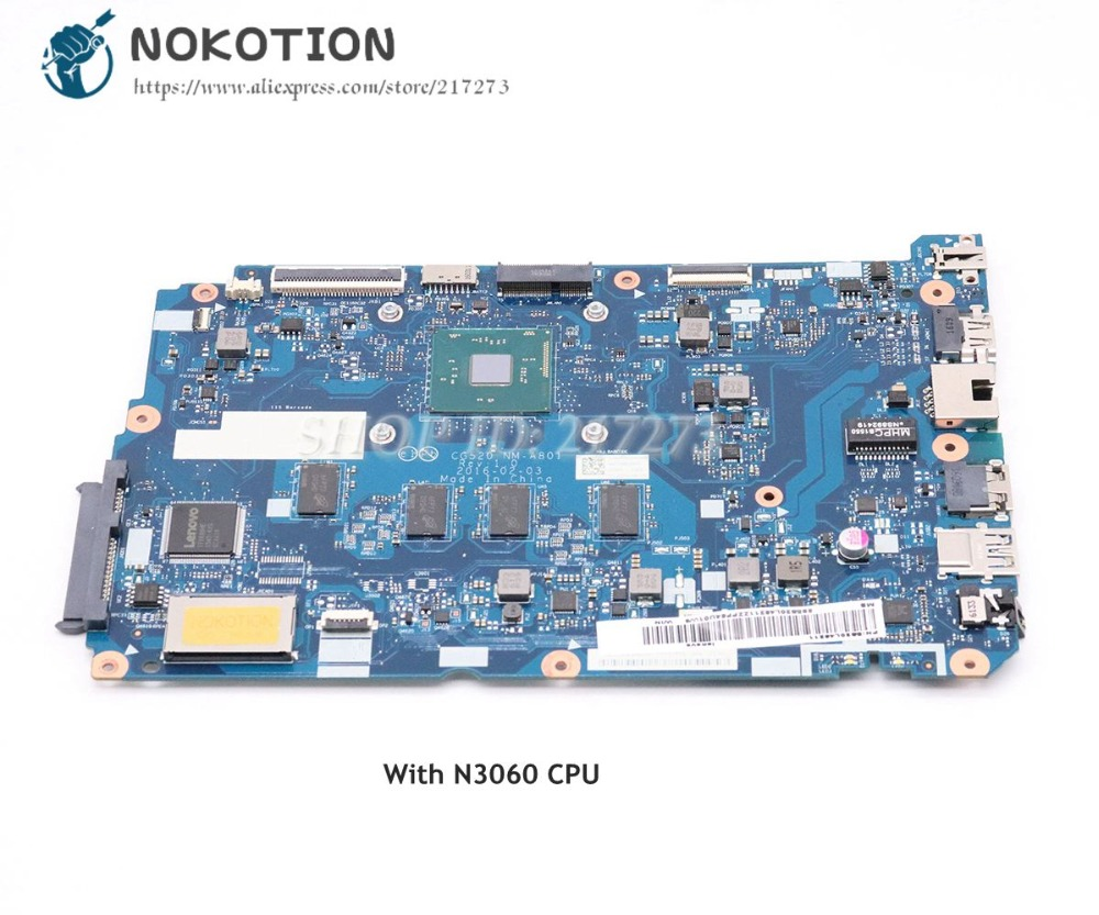 NOKOTION For <font><b>Lenovo</b></font> <font><b>ideapad</b></font> <font><b>110</b></font>-15IBR Laptop <font><b>Motherboard</b></font> SR2KN N3060 4GB RAM 5B20L46211 CG520 NM-A801 MAIN BOARD image
